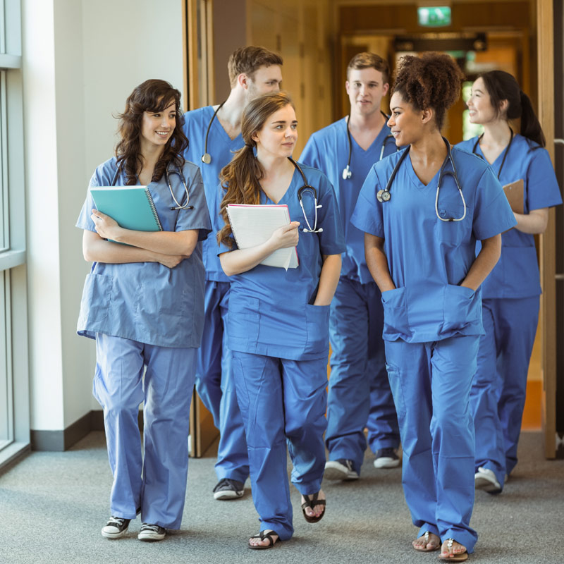 Medical students walking